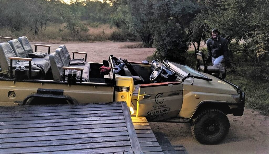 Arriving in your Safari vehicle at Tintswalo Safari lodge in the Manyelwti private concession, Kruger area, South Africa