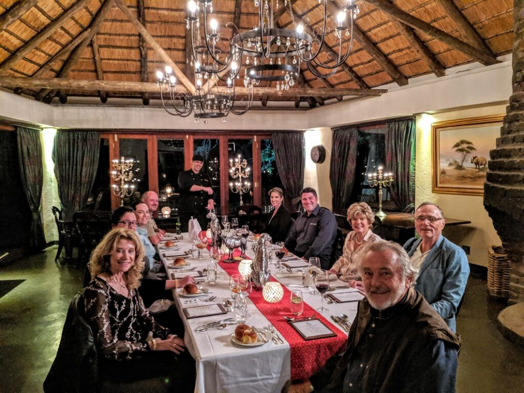 Dinner at Tintswalo SAfari lodge with the gracious owners, Ernest and Gaye. A very special evening.