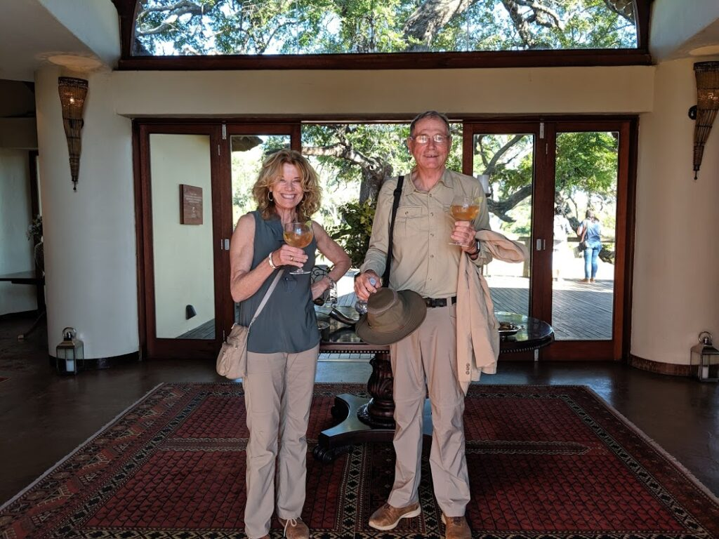 Welcome drink as you arrive at Tinswalo Safari lodge, in Manyeleti private concession